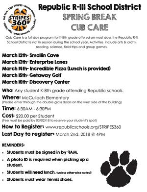 Spring Break Cub Care